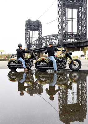 """Christian Walters, right, of Harley-Davidson, and Dorsey """"Barney"""" Fyffe, a Wounded Warrior  Project Peer Mentor, prepare to depart for the 2015 America's Parade on Veterans Day, Wednesday, Nov. 11, 2015, in Kearny, NJ, before Harley-Davidson announced the extension of """"Operation Personal Freedom: Ride Free,"""" free Riding Academy motorcycle training to all active-duty military and veterans starting Jan. 1 through Dec. 31, 2016.  (Photo by Diane Bondareff/AP Images for Harley-Davidson) (PRNewsFoto/Harley-Davidson Motor Company)"""