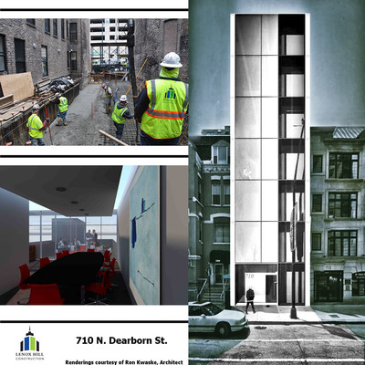 Lenox Hill Construction works to develop a new medical office building at 710 N. Dearborn St. in the River North neighborhood of Chicago. Renderings courtesy of Ron Kwaske, Architect.