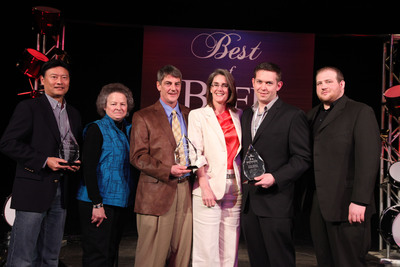 2011 National Foodservice Beef Backer Awards Winners (from left to right):  Paul Yokota, Zippy's; Kelly Loub, Rob Loub and Lori Fink, Little Apple Brewing Company; Chef Adam Hegsted and Ryan Stoy, Coeur d'Alene Casino Resort.  (PRNewsFoto/Beef Checkoff)