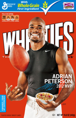 Wheaties(R) Welcomes Football Star Adrian Peterson to its Team Wheaties Family, with a new limited edition box that hits stores this week. Two additional Wheaties boxes featuring Peterson will be unveiled later this month.  (PRNewsFoto/Wheaties)
