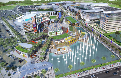 """International Speedway Corporation and Jacoby Development Partner to Develop ONE DAYTONA - A Premier Entertainment, Dining And Retail Destination, Which Will Complement The Daytona International Speedway, The """"World Center Of Racing.""""  ONE DAYTONA will create the kind of vibrant, exciting entertainment center that will serve as a new entrance to Daytona Beach and become an upscale year-round destination for area residents and tourists and of all ages.  (PRNewsFoto/International Speedway Corporation)"""