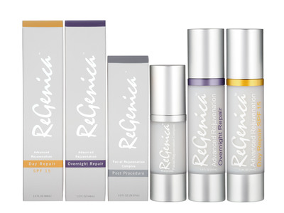 ReGenica(TM) Advanced Facial Rejuvenation System: ReGenica Advanced Rejuvenation Day Repair SPF15, ReGenica Advanced Rejuvenation Overnight Repair and ReGenica Facial Rejuvenation Complex Post Procedure.