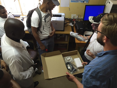 SystemOne Implementation Team helps Swaziland TB Program staff to set up connectivity in a TB lab. Once connected, clinicians and ministry officials can use the Aspect software platform to move diagnostic data and create real-time alerts and notifications.