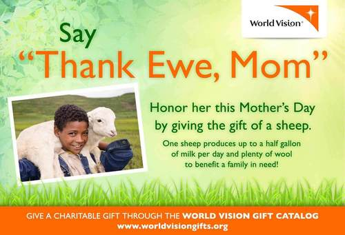 "Donors Say ""Thank Ewe, Mom"" with Sheep in Her Honor (PRNewsFoto/World Vision)"