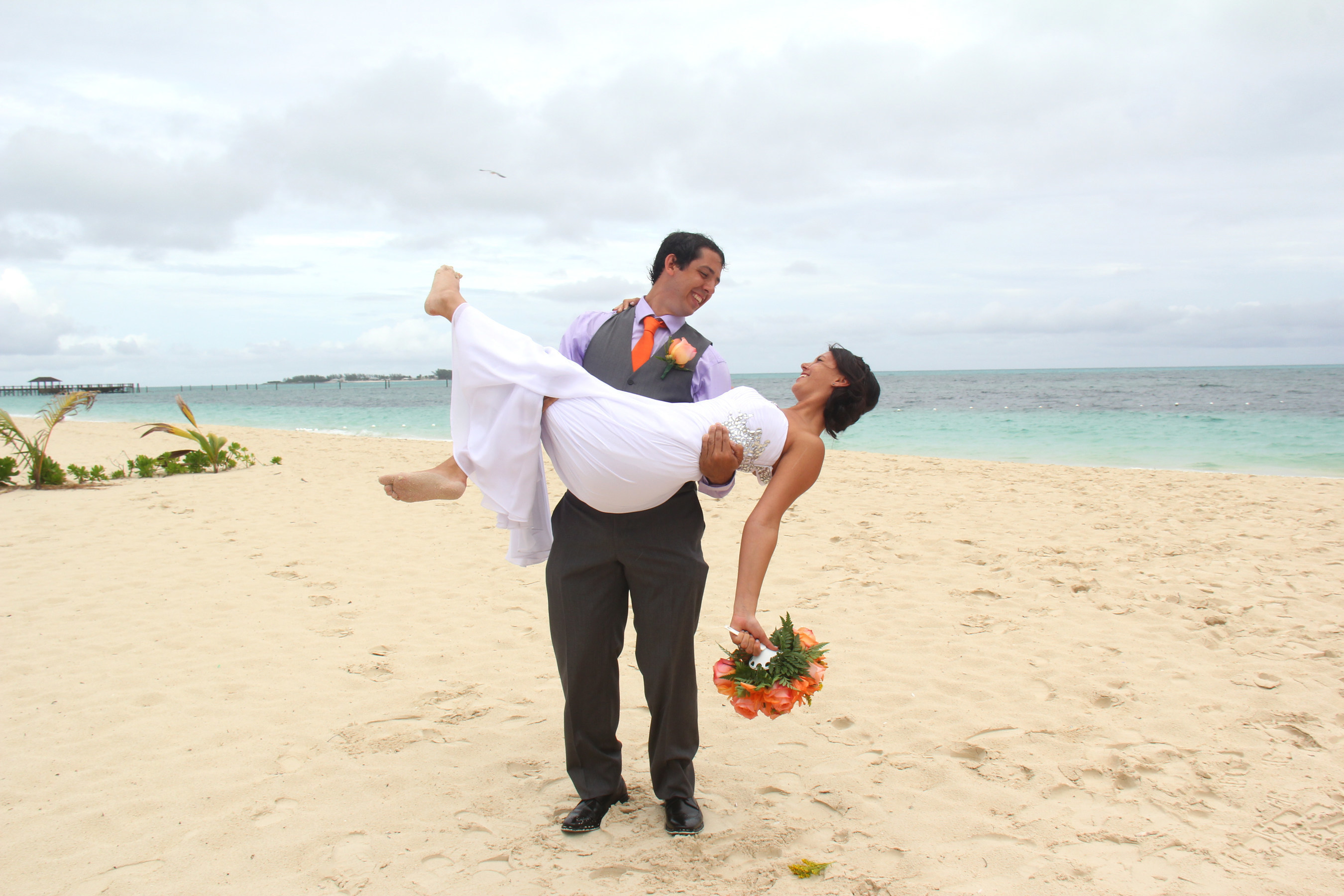 Newlyweds Matthew And Natashja After Their Dream Beach Wedding At Breezes Bahamas Which Took Place