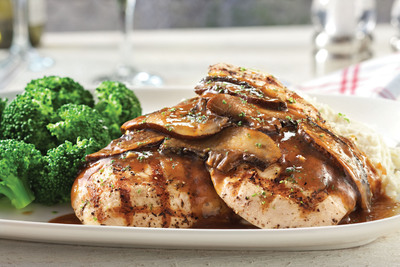 Wood-Grilled Chicken with Portobello Wine Sauce: Served with mashed potatoes and choice of accompaniment.