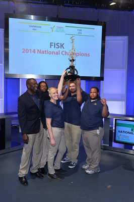 Fisk University, 2014 Honda Campus All-Star Challenge (HCASC) National Champions, celebrate their victory on April 14, 2014 in Torrance, CA. From left to right: Dr. Stafford W. Cargill (coach), Anthony M. Franklin, Anna M. Wilkins, Matthew G. Barthwell, Victor Ray Bradley (team captain)  (PRNewsFoto/American Honda Motor Co., Inc.)