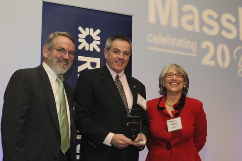 LENOX Tools receives 2013 Team Massachusetts Economic Impact Award for outstanding contributions to the Commonwealth's economy. Pictured (L-R): Fred Mulligan (MassEcon Chairman), Dan McDonough (Director, HR, Global Operation, LENOX Tools), Susan Houston (MassEcon Executive Director). (PRNewsFoto/LENOX) (PRNewsFoto/LENOX)