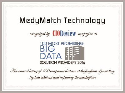 CIOReview Names MedyMatch in 100 Most Promising Big Data Solutions 2016