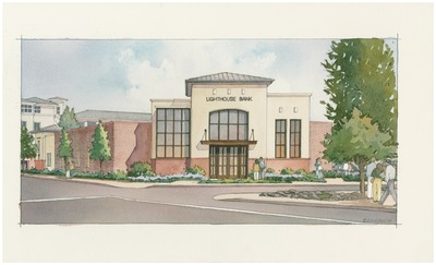 Artist's rendering of Lighthouse Bank's future headquarters located at 2020 N. Pacific Avenue, in downtown Santa Cruz, Calif. Site plans and improvements are underway and construction is anticipated to begin in early 2015.