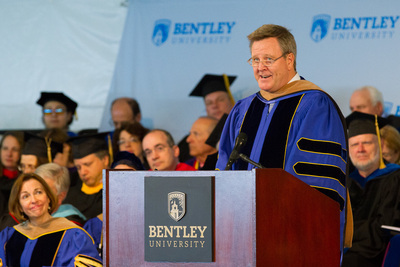 U.S. Olympic Committee CEO Scott A. Blackmun addresses graduates at Bentley University's undergraduate commencement ceremony.