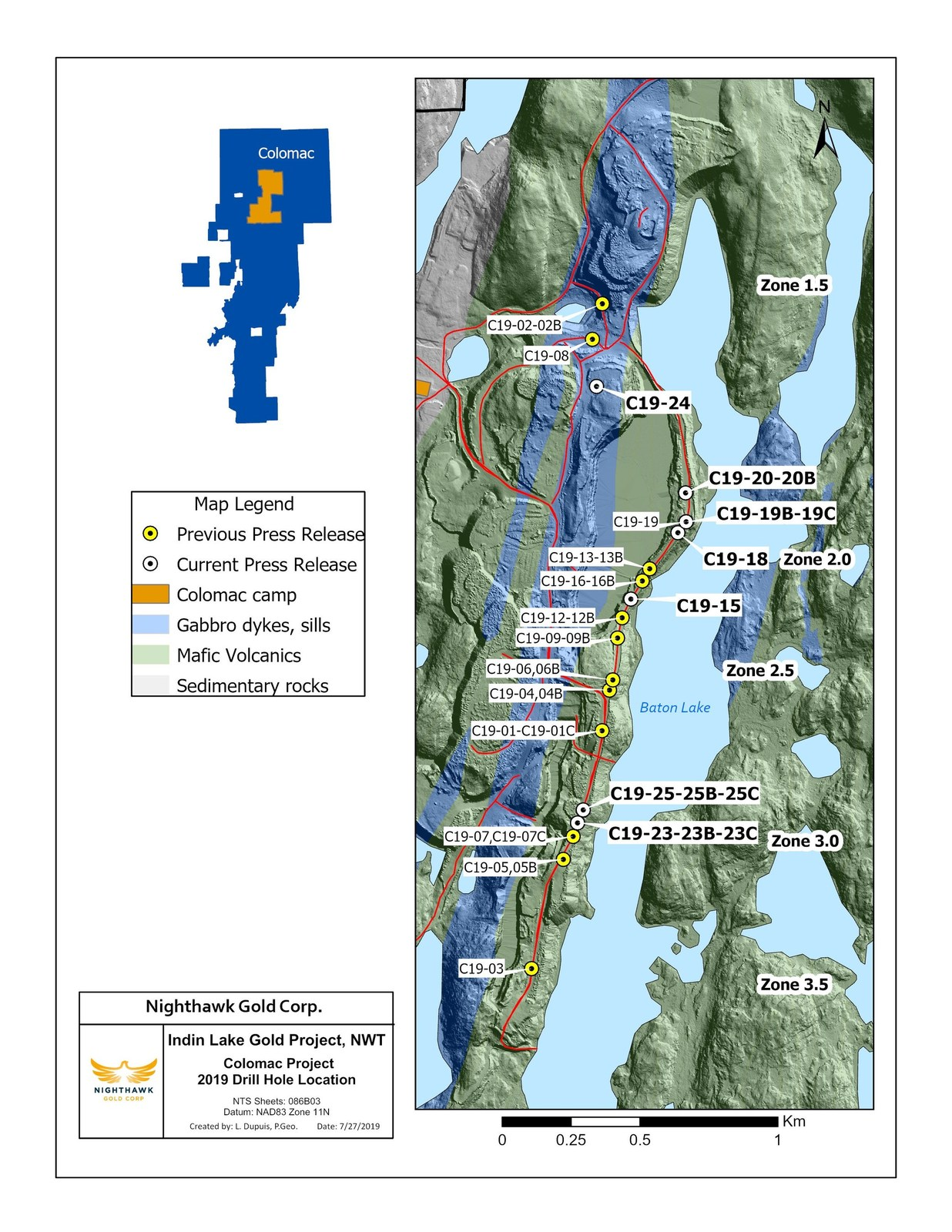 Figure 1.  Plan View - Drillhole Locations