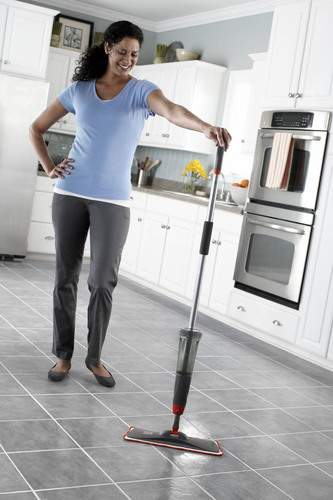The new Rubbermaid Reveal(TM) Microfiber Spray Mop helps consumers reduce waste and save money, while cleaning ...