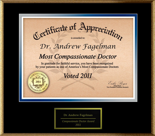 Dr. Andrew Fagelman of New York, NY is Honored as a Compassionate Doctor