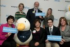 The Aflac Duckprints campaign flew into Dayton Ohio today to honor a family, a civic group and a beloved nurse for their hard work in fighting childhood cancer.Left to right back -- host Cheryl McHenry, Dr. Adam Mezoff, Aflac Associate Susan SavardaLeft to right front -- Honorees Nancy Lehren of the Optimist Club, Nurse Robbie Mirisciotti, and Colin & Maureen Beach