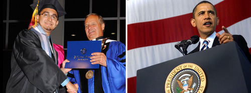 STU graduate Diego Sanchez and President Msgr. Franklyn Casale.  (PRNewsFoto/St. Thomas University)