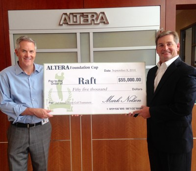 Mark Nelson (right), Altera senior vice president of Worldwide Sales, presents funds raised ($55,000) at the 2014 Altera Foundation Cup Golf Tournament to Grainger Marburg, Resource Area for Teaching (RAFT) CEO, at the Altera headquarters in San Jose.