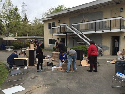 Wounded Warrior Project takes veterans to help fight homelessness. Group helped furnish apartment meant for homeless veteran.