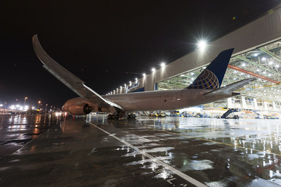 United's first 787-9 Dreamliner rolled out of final assembly at Boeing's Everett, Wash., facility on April 9, 2014.  (PRNewsFoto/United Airlines)