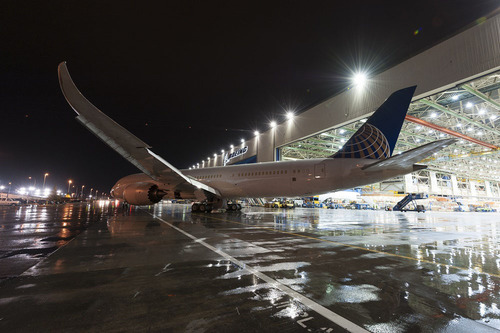 United's first 787-9 Dreamliner rolled out of final assembly at Boeing's Everett, Wash., facility on ...