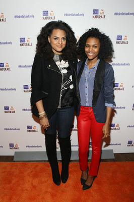 Marsha Ambrosius and Nikki Walton of Curly Nikki.com strike a pose at the Dark and Lovely Au Naturale Curl Power Celebration in NYC