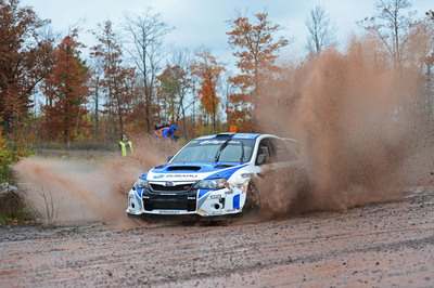 David Higgins & Craig Drew claimed their third Rally America Championship in a row for Subaru Rally Team USA. The top three teams were all WRX STI's prepared by Vermont SportsCar. Subaru claimed the 2013 Rally America Manufacturer's Title. Subaru Rally Team USA Claims Their 3rd Rally America Championship Title in a Row.  (PRNewsFoto/Subaru of America, Inc.)