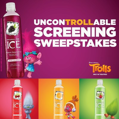 "Sparkling Ice(R) Teams with DreamWorks Animation's TROLLS for ""UnconTROLLable Flavor"" Promotion"