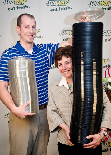 SUBWAY(R) Packaging Technologist Michael Fox, and Marketing Director Elizabeth Stewart, help to make restaurant  ...