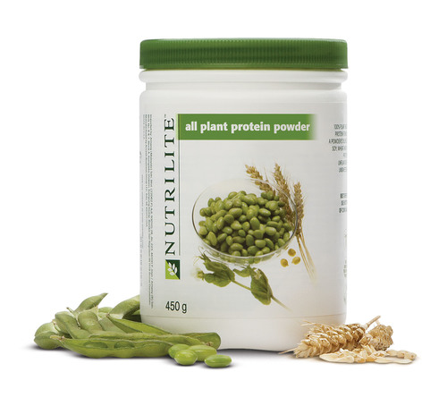 NUTRILITE(TM) All Plant Protein Powder's tri-blend of soy, wheat and pea provides the right combination of proteins and amino acids to keep individuals feeling healthy and energetic, without animal products or dairy side effects.  (PRNewsFoto/Amway)