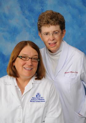 Co-principal investigators Nancy Klimas, M.D., director of Nova Southeastern University's (NSU) College of Osteopathic Medicine's Institute for Neuro Immune Medicine, and Mariana Morris, Ph.D., professor and director of Gulf War research at the NSU College of Osteopathic Medicine's Institute for Neuro Immune Medicine. (PRNewsFoto/Nova Southeastern University) (PRNewsFoto/NOVA SOUTHEASTERN UNIVERSITY)