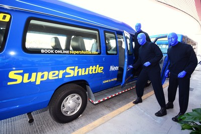 Blue Man Group and SuperShuttle announce joint marketing program in Boston, New York and Las Vegas. Look for special offers from both organizations when booking shows online for Blue Man Group or transportation on SuperShuttle. (PRNewsFoto/SuperShuttle International)