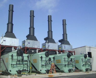 Installation of four (4) new 82,500 PPH saturated watertube rental boiler packages supplied by Wabash Power Equipment Company.