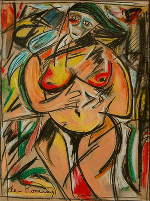 A rare, original painting by abstract expressionist master Willem de Kooning will be auctioned on Oct. 30 at J. Levine Auction & Appraisal in Scottsdale, Arizona. The piece from de Kooning's 'Woman' series is pastel and charcoal on paper and the provenance shows it was consigned to Allan Rich Galleries in New York and sold to the current private collector's estate in 1979. The original receipt of sale is attached along with the gallery label. (PRNewsFoto/J. Levine Auction & Appraisal)