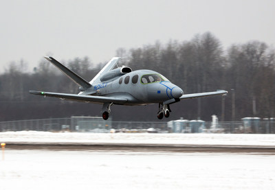 Cirrus Aircraft's Conforming Aircraft C2 of the Vision SF50 jet on its maiden flight at Duluth International Airport, Dec. 20, 2014.