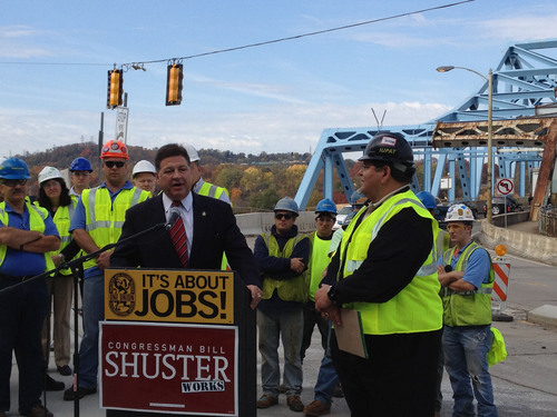 Congressman Bill Shuster addresses International Union of Painters and Allied Trades (IUPAT) members at WD Mansfield Memorial Bridge in McKeesport, PA. IUPAT District Council 57 Business Manager Rocky DeStefano announced his union's endorsement for the congressman on Tuesday, October 23.  (PRNewsFoto/International Union of Painters and Allied Trades)
