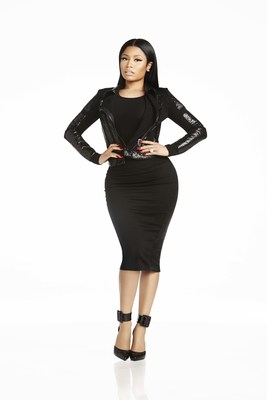 Asymetrical leather panel jacket from the Nicki Minaj Couture Capsule Collection, sold exclusively on Nickiminajcollection.com. Nicki Minaj models a custom asymmetrical leather panel jacket from her new Couture Capsule Collection for Kmart.