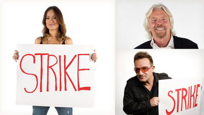 Bono, Sir Richard Branson, and Olivia Wilde show their support for Water.org's Matt Damon in his strike not to use the bathroom in protest of the 2.5 billion people who lack access to safe water and sanitation, and ask for help at http://strikewithme.org in Los Angeles. (Photo by Water.org).  (PRNewsFoto/Water.org)