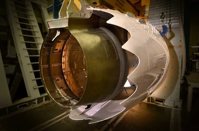 The first 737 MAX thrust reverser with a composite inner wall undergoing tests at Spirit AeroSystems' engineering lab.