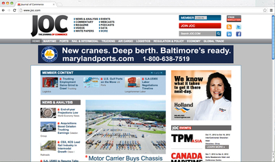 The Journal of Commerce (JOC) today re-launched its flagship Web site, www.joc.com. The Web site has been rebuilt from top to bottom with enhancements in functionality and content for JOC members and advertisers. The JOC is the leading information and marketing services provider for the domestic and international containerized cargo community. It delivers high-quality intelligence and expertise to help customers make better business decisions - in print, online and face-to-face at leading industry events.  (PRNewsFoto/The Journal of Commerce)