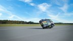 Nokian Tyres - Fastest side wheelie in a car. The new world record for Fastest side wheelie in a car was achieved by Nokian Tyres, when stunt driver Vesa Kivimäki drove at a speed of 186,269 kilometres per hour (115.742 mph). The tyres on the record-breaking car were reinforced with Nokian Tyres Aramid Sidewall technology. More: www.nokiantyres.com/fastestwheelie (PRNewsFoto/Nokian Tyres)