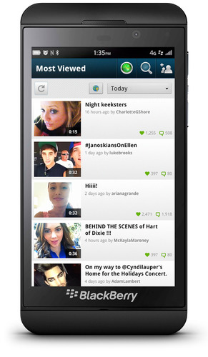 "Keek's ""Most Viewed"" Screen on BlackBerry Z10.  (PRNewsFoto/Keek)"