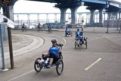 Wounded veterans peddle through the city during a 2015 Soldier Ride event in California.