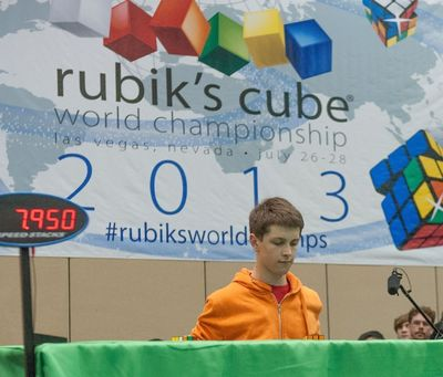 17 year old Feliks Zemdegs of Australia secured the World Championship title with a fastest average time for solving the classic 3x3 Rubik's Cube of 8.18 seconds.