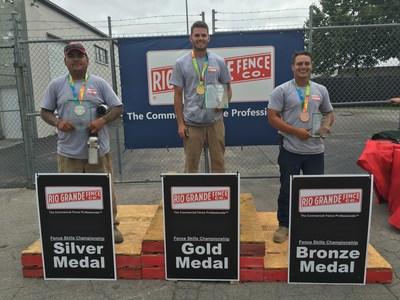Award Winners at 2016 Fence Skills Championship at Rio Grande Fence Co. of Nashville. Pictured L to R: Rolando Rodriguez, Jordan Hines and Glenn Barbee