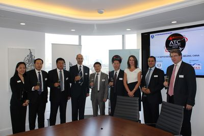 Representatives from the China Air Traffic Management Bureau, China Civil Aviation Museum the People's Republic of China's Embassy in London celebrate UBM's ATC Global tradeshow coming to China in 2014