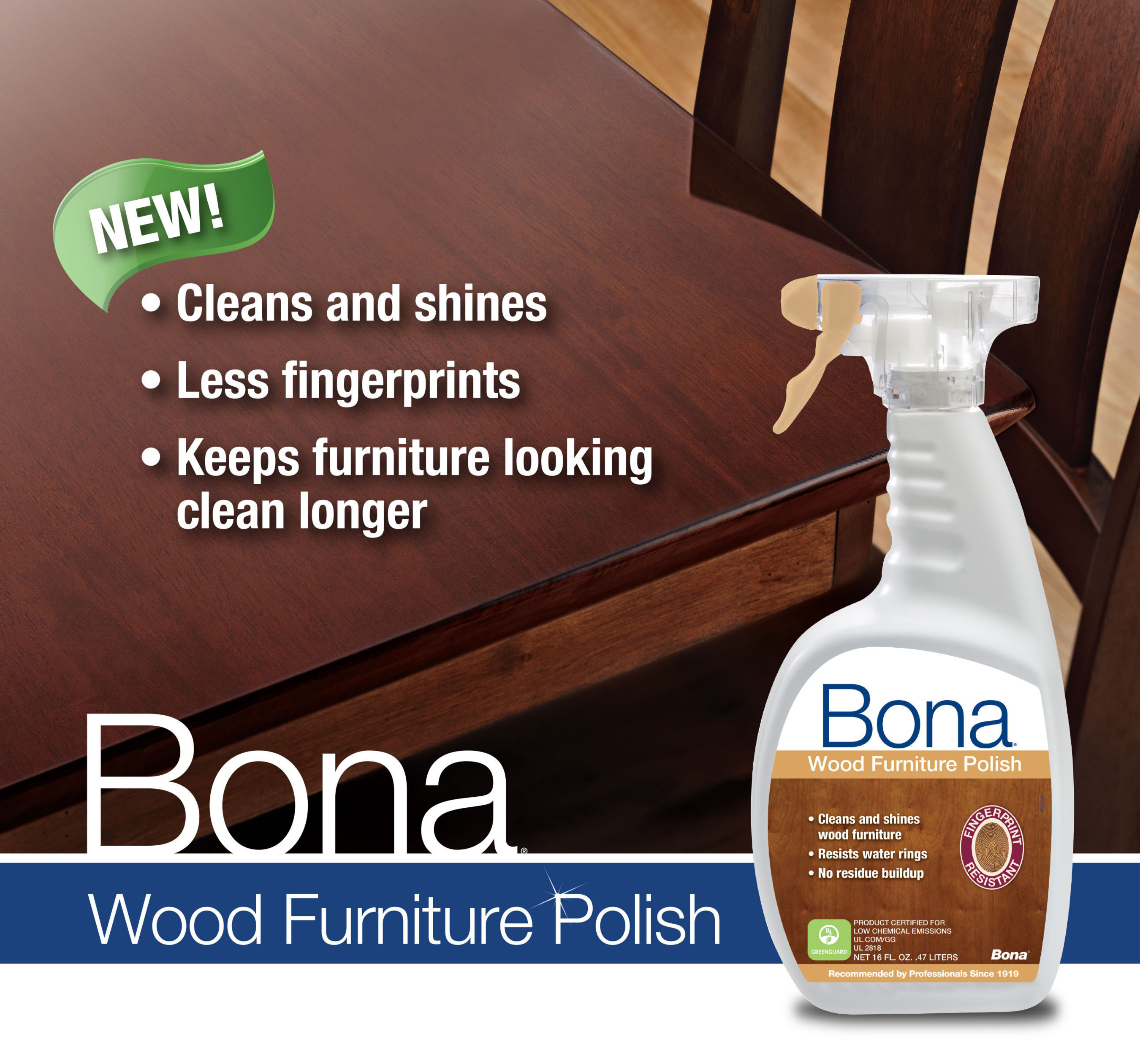 Bona(R) US Launches Bona Wood Furniture Polish; Experts in Wood for More Than 90 Years Develop Innovative Waterborne, Fingerprint Resistant Furniture Polish. (PRNewsFoto/Bona US) (PRNewsFoto/BONA US)