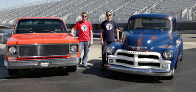 Dale Earnhardt Jr. and Jimmie Johnson reveal their Valvoline Reinvention Project custom truck builds.  (PRNewsFoto/Valvoline)