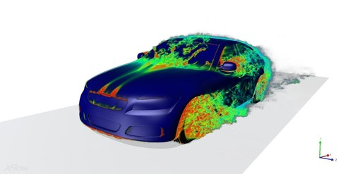 XFlow's  aerodynamics example.  XFlow is able to compute aerodynamic loads over complex geometry, including the effect of rotating wheels and moving parts. It is possible to analyze overtaking or dynamic systems such as the vehicle suspension through a co-simulation with external Multi-Body Dynamic (MBD) software. (PRNewsFoto/Next Limit)