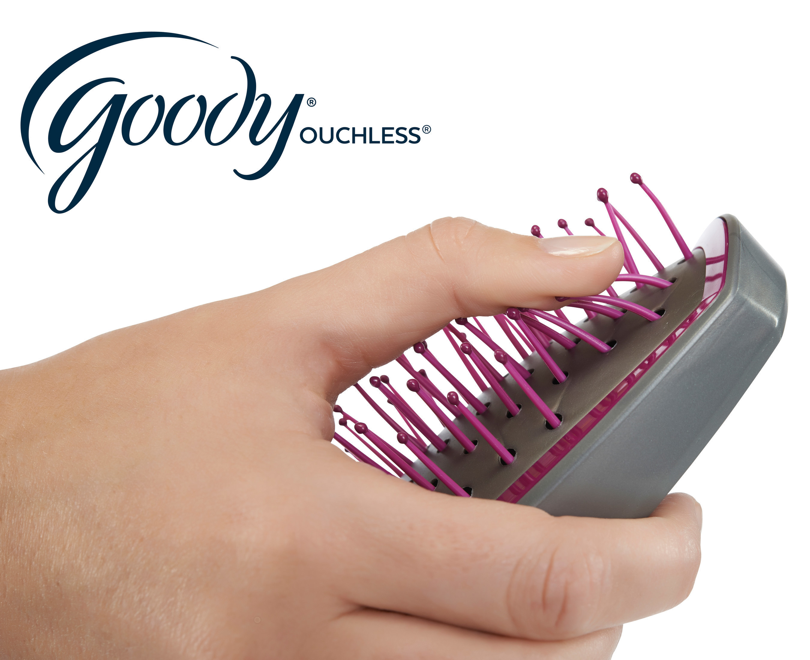 The new Goody Ouchless line of brushes feature exclusive FlexGlide(TM) bristles that are strong enough to work through knotted hair but gentle enough to detangle without breaking strands.