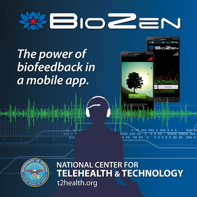 BioZen, a mobile app from the Defense Department's National Center for Telehealth and Technology, helps service members use biofeedback. Wireless sensors send data to a mobile device so users can see how their body is responding to their behavior. It can also display brain waves and combine them to show meditative and attentive cognitive states. Users can document their session with biofeedback data recorded in their phone or tablet. BioZen generates graphs from the recording sessions to show the user's progress over time. The mobile application is free for Android devices.  (PRNewsFoto/National Center for Telehealth and Technology)
